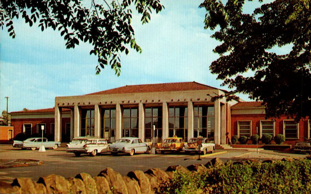Vintage postcard of Norfolk and Western Roanoke Station in the 1950s
