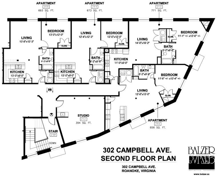 Big Lick Junction Second Floor Plan, Rear